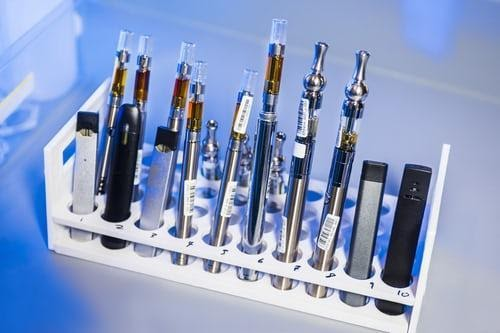 An assortment of vape devices